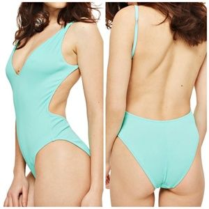 TOPSHOP • Plunge Wide Rib One-Piece Swimsuit